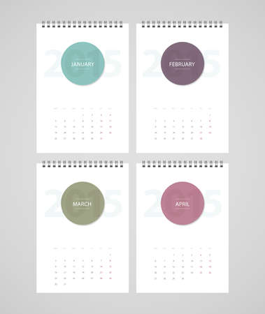 Vector illustration (eps 10) of Calendar for 2015 Vector