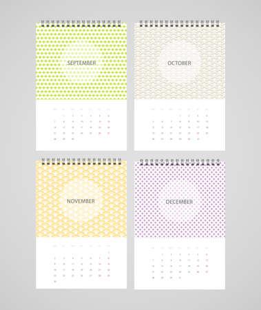 stitched: Vector illustration (eps 10) of Calendar for 2015