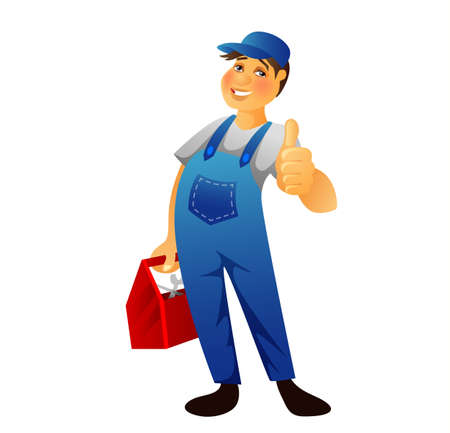dungarees: Vector illustration (eps 10) of Plumber man Illustration