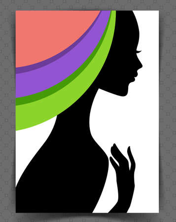 hair salon background: illustration of Beautiful womans silhouette Illustration