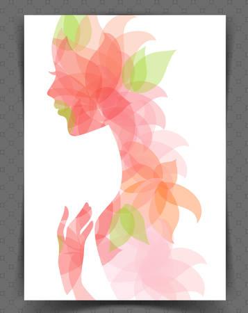 visage femme profil: illustration de la belle femme
