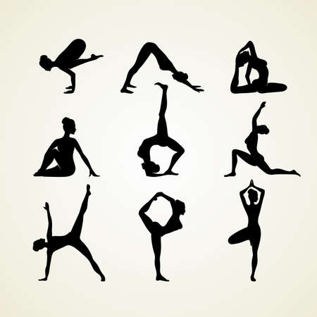 Vector illustration of Yoga poses silhouette