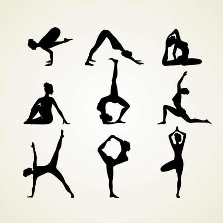 piernas mujer: Ilustración vectorial de posturas de yoga silueta Vectores