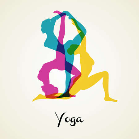 pilates: Vector illustration of Yoga poses silhouette