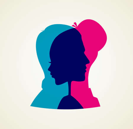 Vector illustration of Couples silhouette Illustration