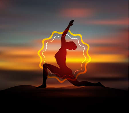 yoga sunset: Vector illustration of Yoga pose silhouette