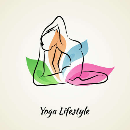 recovery position: Vector illustration of Beautiful woman doing yoga