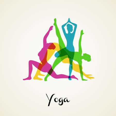 Vector illustration of Yoga poses silhouette set Vector
