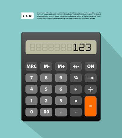 Vector illustration of Calculator flat image on blue back Illustration
