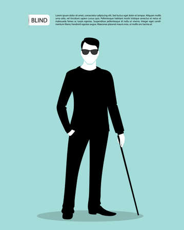 Vector illustration of Blind man silhouette image Stock Illustratie