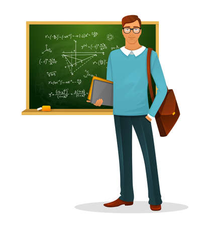 trait: Vector illustration of Male teacher with blackboard