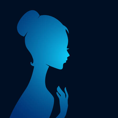 teen silhouette: Vector illustration of Beautiful womans silhouette image