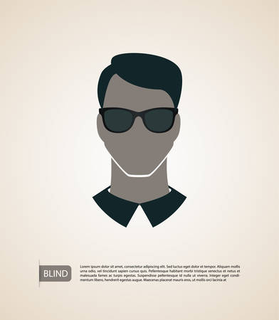 Vector illustration of Blind man silhouette image Vector
