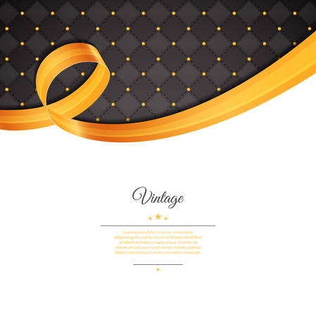 ribbon vector: Vector illustration of Vintage template with gold ribbon Illustration