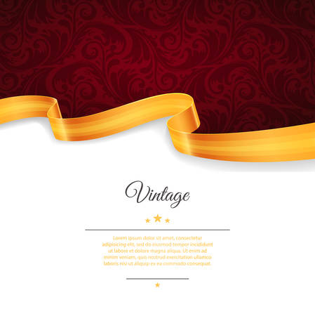 Vector illustration of Vintage template with gold ribbon Иллюстрация