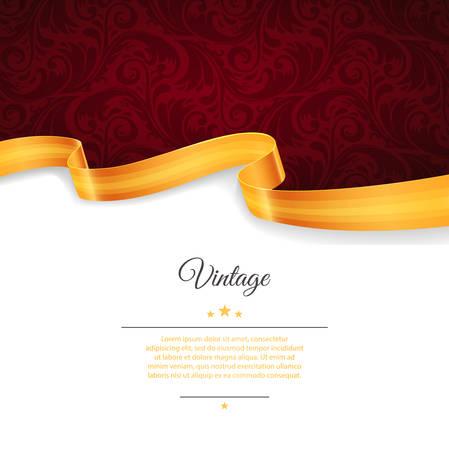 elegant background: Vector illustration of Vintage template with gold ribbon Illustration