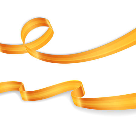 silk ribbon: Vector illustration of Golden ribbons set image Illustration