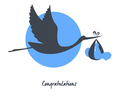 congratulations: Vector illustration of Stork with baby card