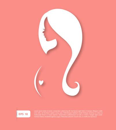 mujer elegante: Ilustraci�n vectorial imagen de la silueta de la mujer embarazada de Vectores