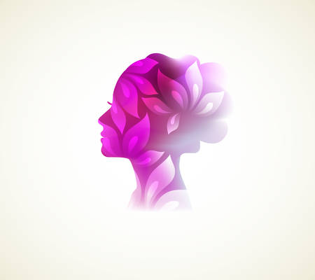Vector illustration of Beautiful woman silhouette with flower Çizim