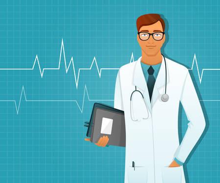 hospital background: Vector illustration of Doctor man in white uniform