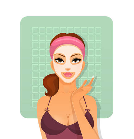 Vector illustration of Beautiful woman with face-mask Vector