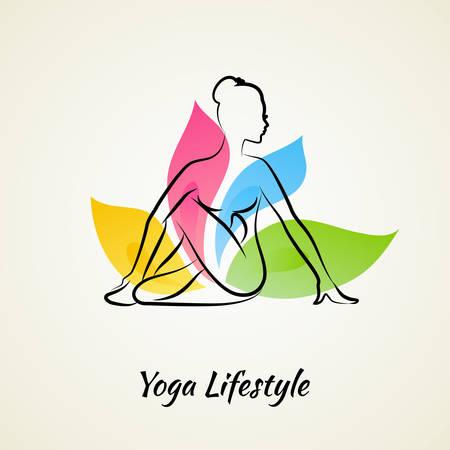 Vector illustration of Beautiful woman doing yoga Vector