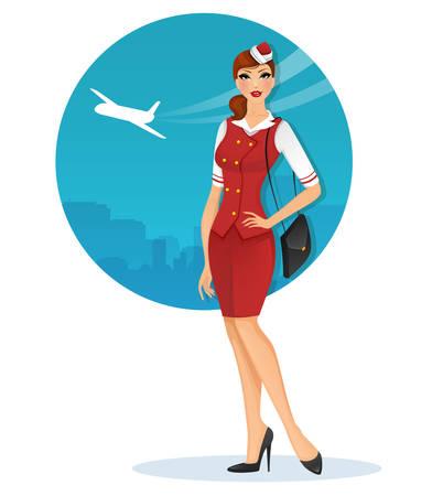 Vector illustration of Girl in stewardess uniform Иллюстрация