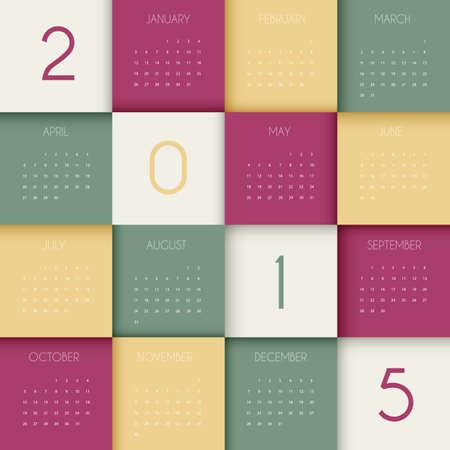 Vector illustration of Calendar for 2015 year Vector