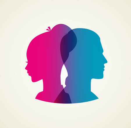 woman male: Vector illustration of Couples silhouette pink and blue Illustration