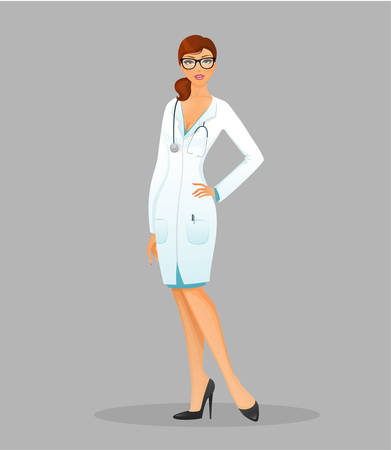 dress coat: Vector illustration of Doctor woman in white uniform Illustration