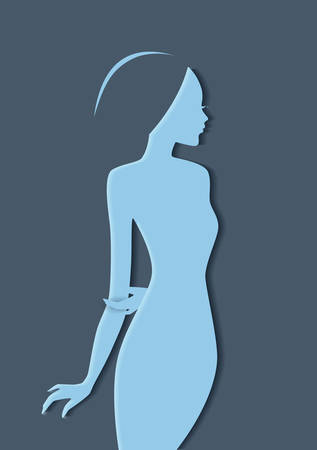 Vector illustration of Beautiful womans silhouette image Vector