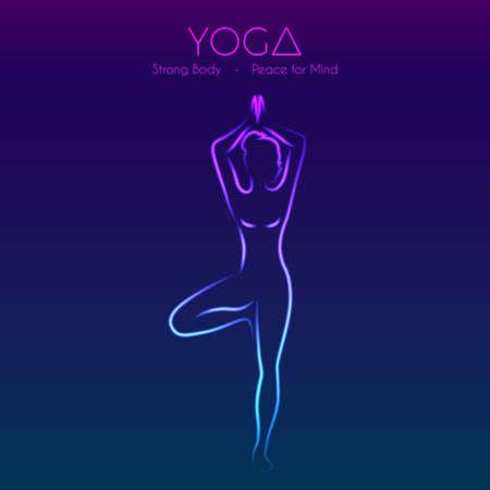 female legs: Vector illustration of Yoga pose womans silhouette