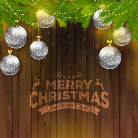 illustration of Christmas balls on wooden background Vector
