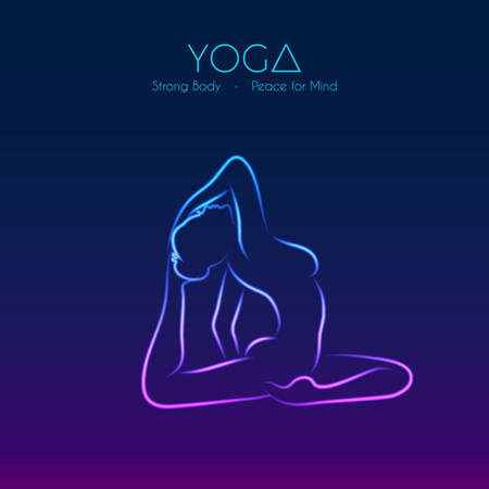 illustration of Yoga pose womans silhouette Vector
