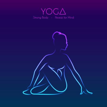 illustration of Yoga pose woman\'s silhouette 向量圖像
