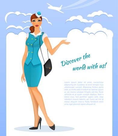 crew: illustration of Girl in stewardess uniform