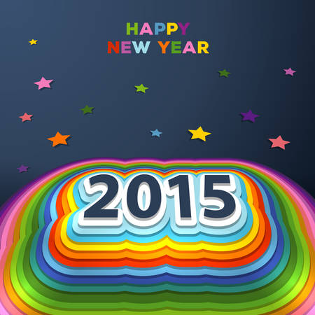Vector illustration of 2015 colorful paper decor Vector