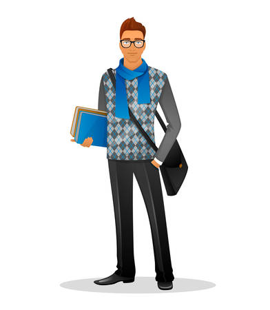 Vector illustration of Fashion man with blue scarf Vector