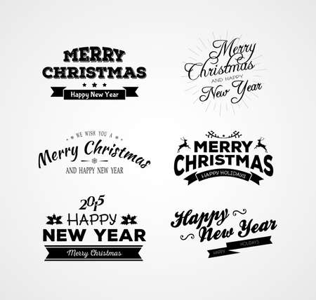 Vector illustration of Christmas and New year calligraphy set Vector