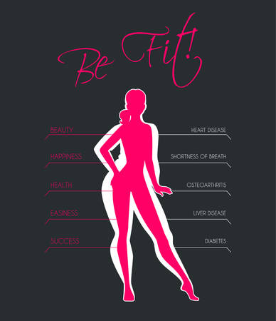 slim women: Vector illustration of Problems with excess weight Illustration