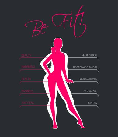 Vektor-Illustration der Probleme mit Übergewicht Vektorgrafik