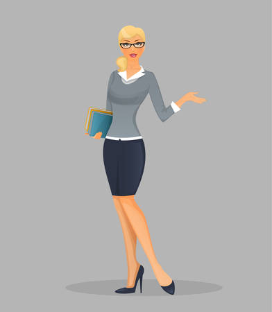 business woman standing: Vector illustration of Teacher woman with books