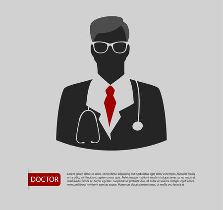 Vector illustration of Doctor man icon 2 colors Vector