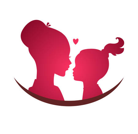 mom: Vector illustration of Mom and daughter love Illustration