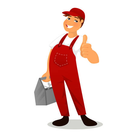 tradesperson: Vector illustration of Plumber in red overalls Illustration