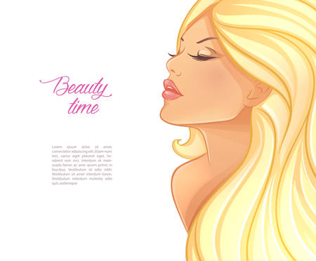 Vector illustration of Beautiful blond woman image Illustration