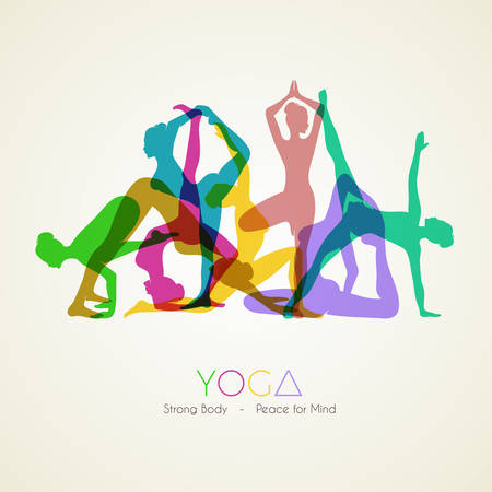 Vector illustration of Yoga poses womans silhouette Иллюстрация