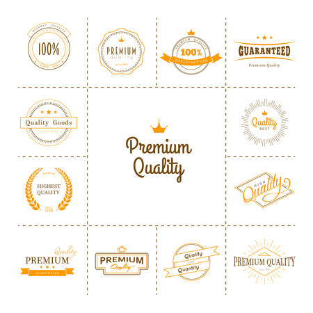 stamp collection: Vector illustration of Premium quality labels set