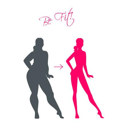 mujeres gordas: Ilustración vectorial de Slim y chicas gordas Vectores